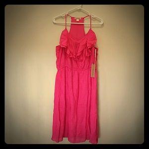 Brand new...hot pink ruffle front sundress